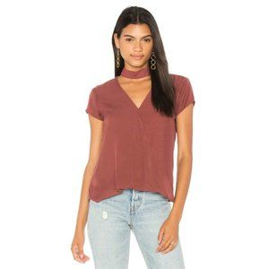 Cloth and Stone Choker Neck Wrap Blouse